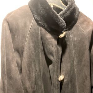 Arpel Leather And Shearling Black Shearling Coat